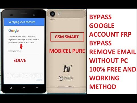 Mobicell pure google account frp bypass without pc 100% Free