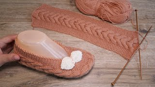 Следки с поперечной косой спицами 👠 Cables Slippers knitting pattern