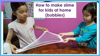 How to make slime for kids at home (Slime with bubbles)