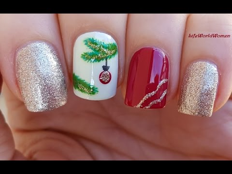 CHRISTMAS TREE BRANCH NAIL ART - Red & Gold Nails For Holidays!