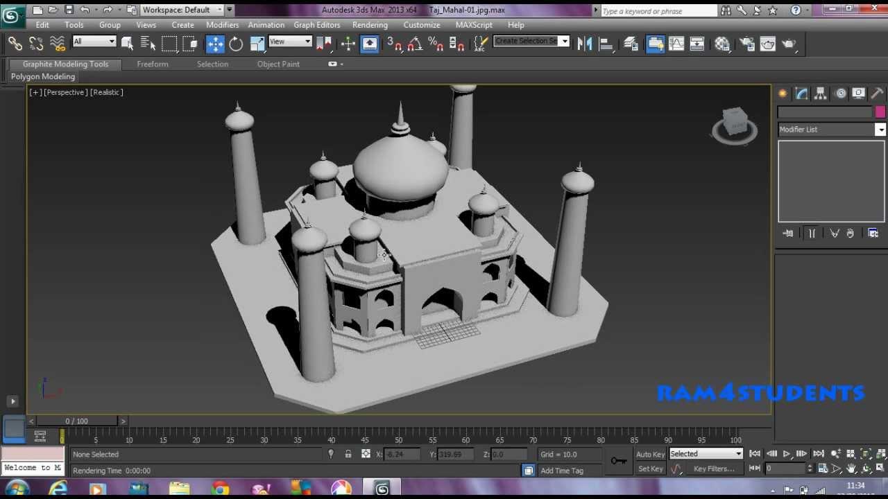 3d Max Mesh Modelling Taj Mahal Youtube