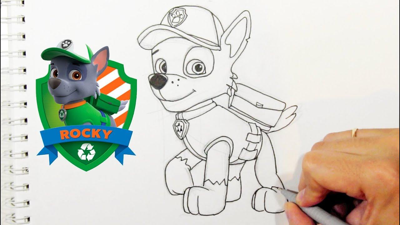 Como Desenhar O Rocky Da Patrulha Canina Personagens Do