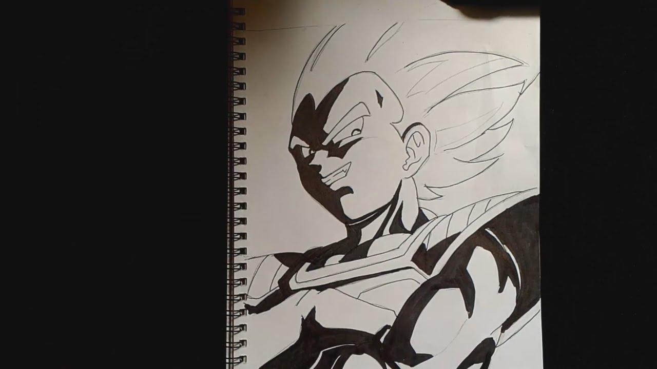 drawing vegeta dragon ball black u0026 white youtube