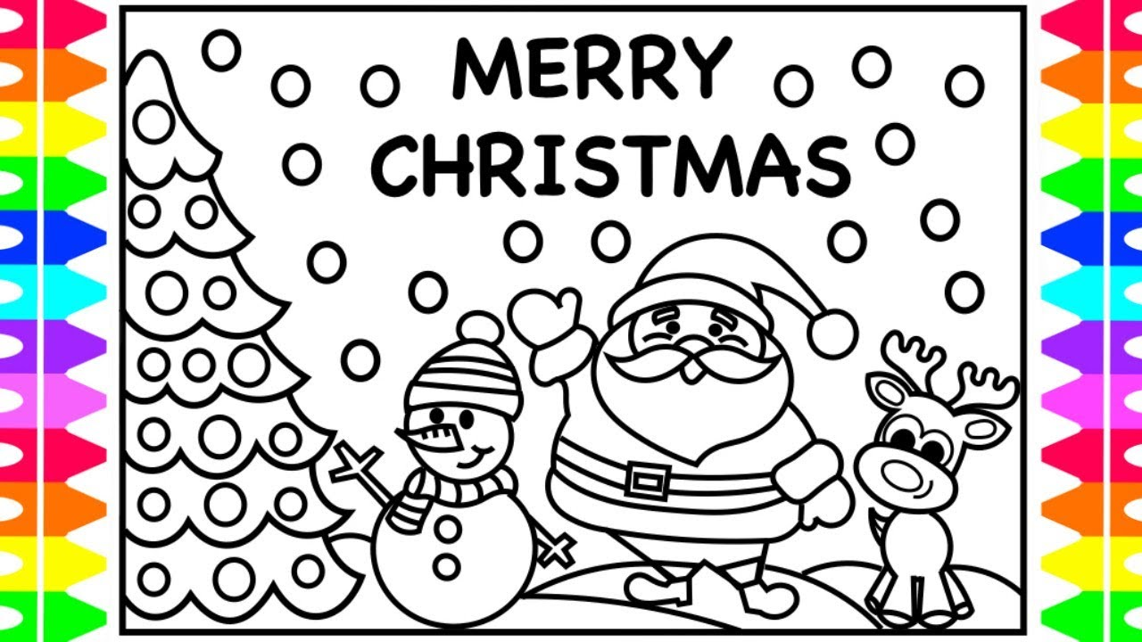 merry christmas everyone! christmas coloring pages for kids | santa