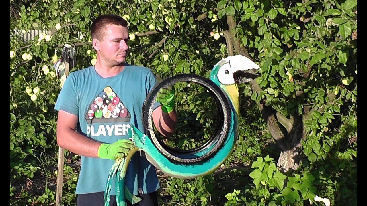 Как сделать попугая из покрышки инструкция