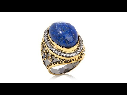 Jewels of Istanbul Lapis CZ and Sapphire Ring