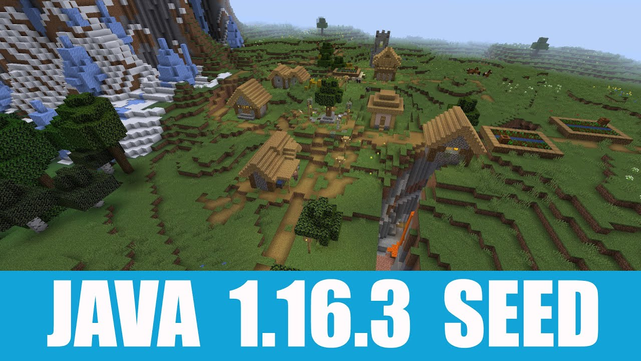 Minecraft Java 9.96.9 Seed: Village stands on a ravine at spawn + double  snow village nearby