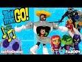 Teen Titans Go! Cyborg Cartoon Network Screen Scenes with Cyborg and Robin Dance Battle vs The Hive