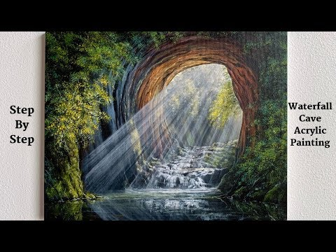 Waterfall Cave STEP by STEP Acrylic Painting Tutorial (ColorByFeliks)