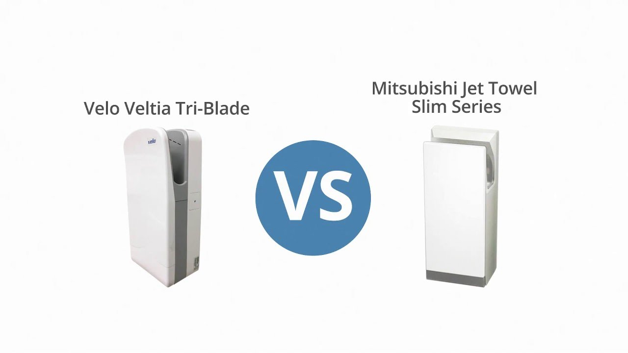 Händetrockner World Dryer Velo Veltia Tri Blade Vs Mitsubishi Jet Towel Slim Hand Dryer