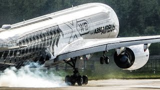 AIRBUS A350 near VERTICAL TAKEOFF and great VISUAL APPROACH - ILA 2018 Airshow (4K) thumbnail