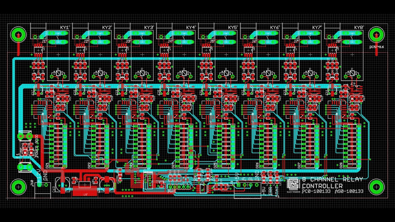Pcb Layout 8 Channel Relay Controller Pc0 100133 Youtube