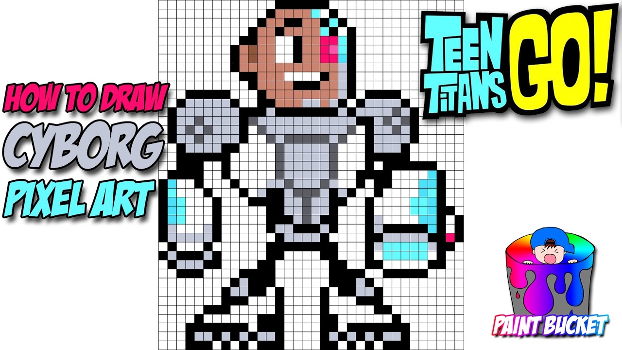 How To Draw Teen Titans Go Cyborg Cartoon Network Pixel Art Drawing