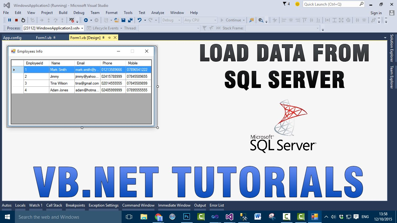 VB NET Tutorials - Load Data Into DataGridView From SQL Server Database