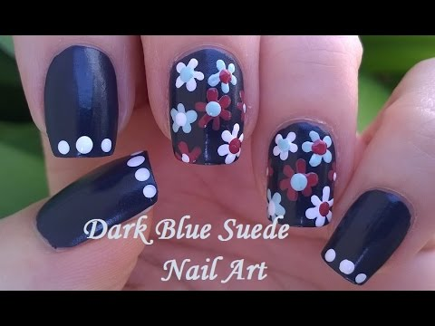 Dark Blue Floral Nail Art Suede Nails Dotting Tool Flowers