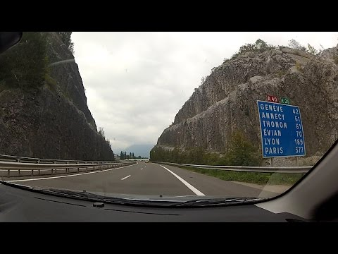 Autoroute A40 (Autoroute Blanche) / (Saint-Gervais to Archamps), Haute-Savoie, France – onboard cam
