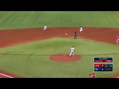 LAA@TB: Robertson rolls inning-ending double play