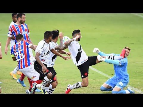 Douglas é Atingido no Rosto em Gol do Vasco Anulado Contra o Bahia - 31/01/2021