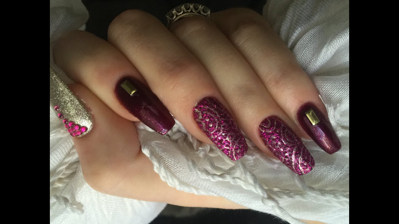 Etched Design Acrylic Nails Featuring Madam Glam Gels - YouTube