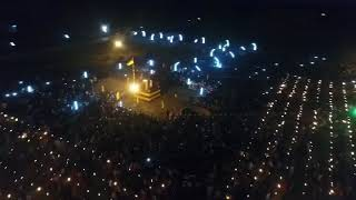Aerial footage of crowds at Kanagapuram Thuyilum Illam in Kilinochchi, Maaveerar Naal 2018