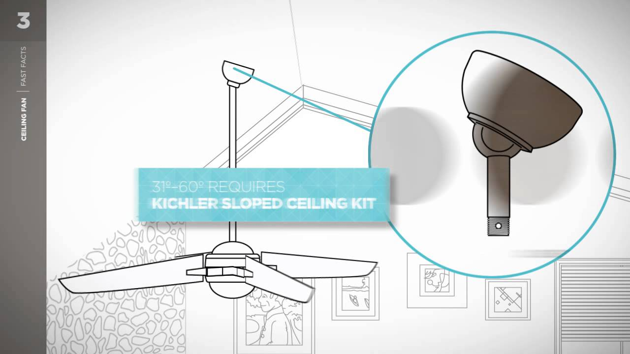 kichler ceiling fan fast facts - sloped ceiling - youtube