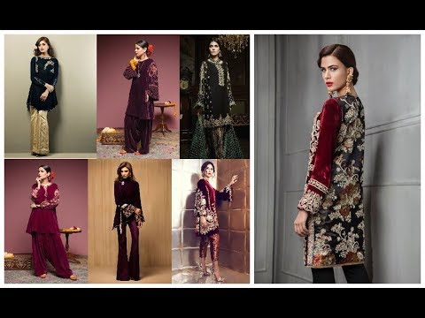 [VIDEO] - Stylish Velvet Dress Designs=Party Wear Embroidered Outfit Ideas 2019-20 1