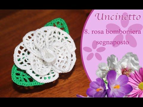 Segnaposto Matrimonio Ad Uncinetto.Uncinetto Fiore Rosa Bomboniera Segnaposto Youtube