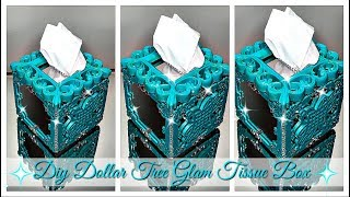 DOLLAR TREE DIY BATHROOM DECOR - GLAM TISSUE BOX - w collab Marandah