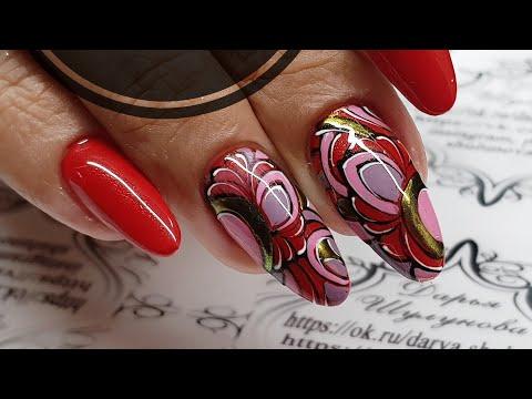 Дизайн ногтей темно красного цвета