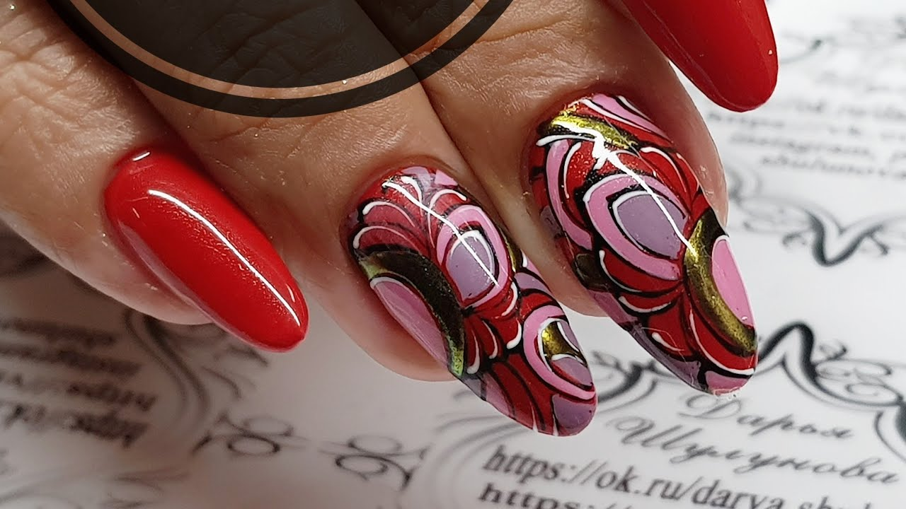 ENG CC Autumn design of nails Classic combination of black, white, red