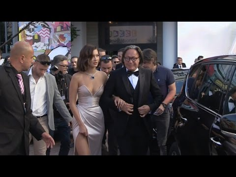 Bella Hadid and father Mohamed Hadid on their way to Cannes Red Carpet