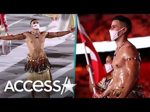 Shirtless-Oiled-Tonga-Flag-Bearer-Pita-Taufatofua-Returns-To-Tokyo-Olympics