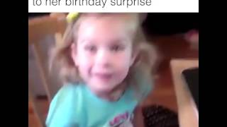 Priceless reaction of a little girl on her birthday!