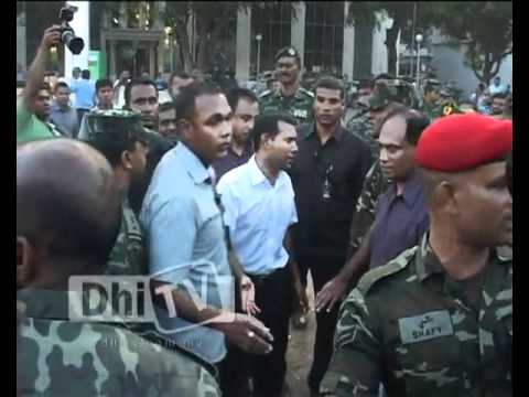Maldives coup - President Nasheed requesting mutiny police to surrender. February 7th, 2012