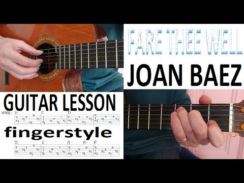 FARE THEE WELL - JOAN BAEZ  fingerstyle GUITAR LESSON
