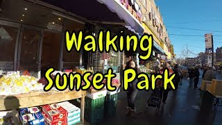 ⁴ᴷ Walking Tour of Sunset Park, Brooklyn, NYC - 8th Avenue from 62nd Street to 50th Street
