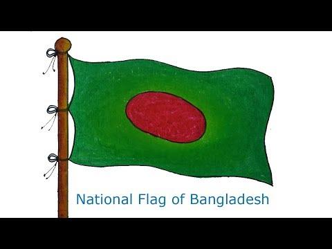 How to draw Flying Flag of Bangladesh, Draw National Flag of Bangladesh,