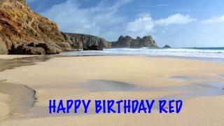 Red   Beaches Playas - Happy Birthday