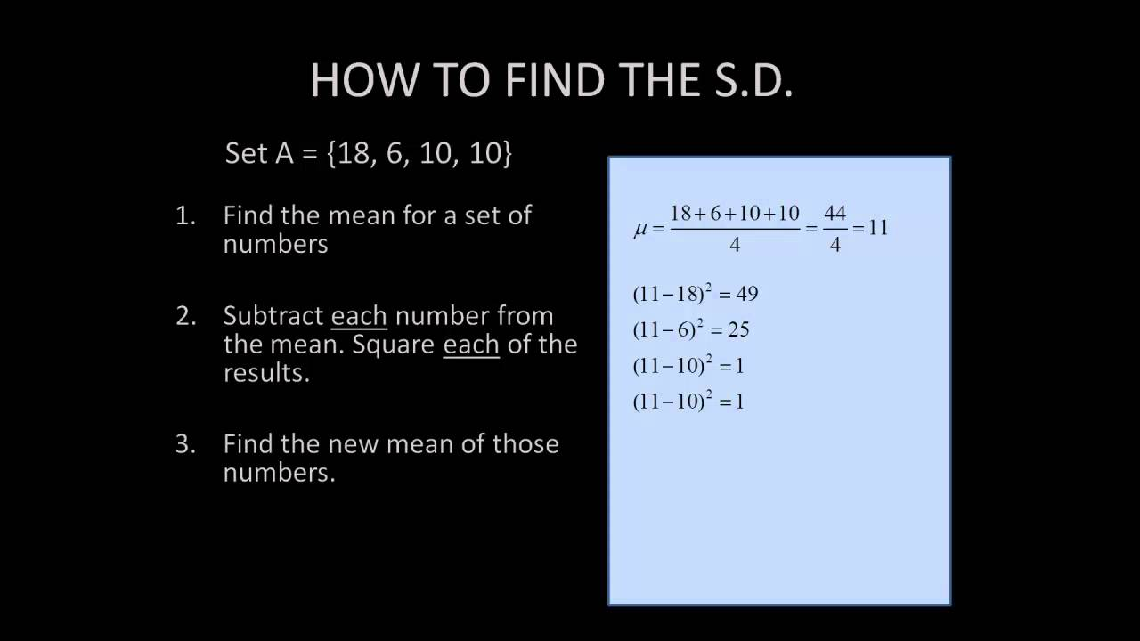 Find The Standard Deviation Of A Set Of Numbers
