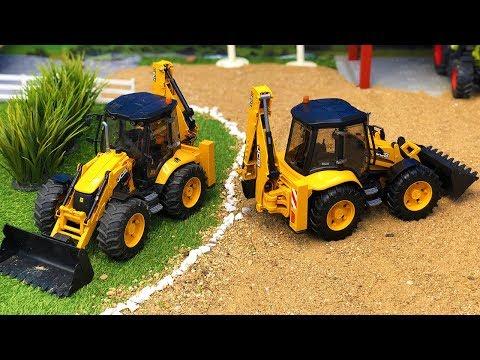 bruder-jcb-backhoe-tractor-excavators-truck-transport!-construction-video-for-kids