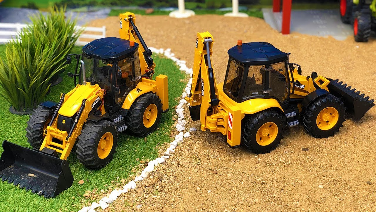 Bruder JCB Backhoe Tractor Excavators Truck Transport! Construction video for kids