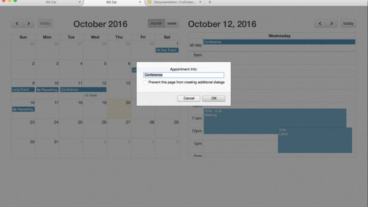 Creating a calendar app using Full Calendar, JavaScript