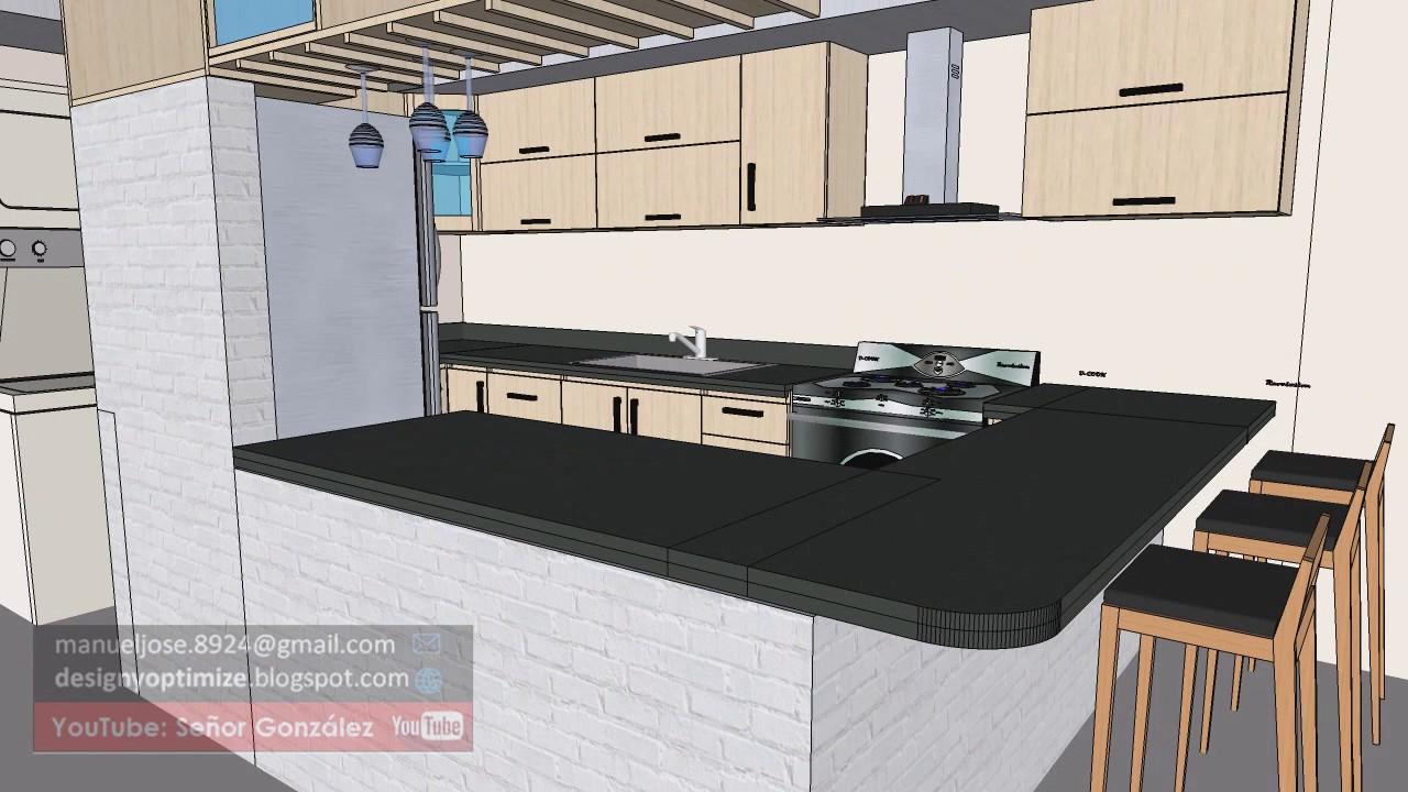Dise o de cocina con sketchup resultado realista youtube for Programa diseno cocinas gratis