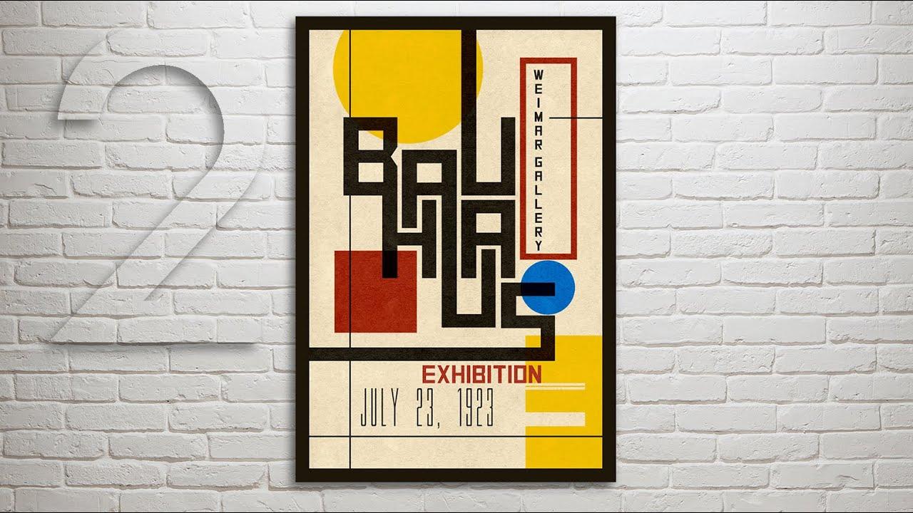 Photoshop Tutorial: Part 2 - How to Design & Create a Vintage, Bauhaus Poster (Design #1) - YouTube