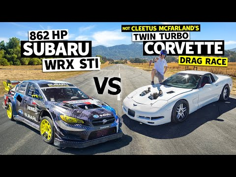 Cleetus McFarland vs Travis Pastrana: Twin Turbo Vette vs Gymkhana 2020 Subaru STI! // Flying Finish