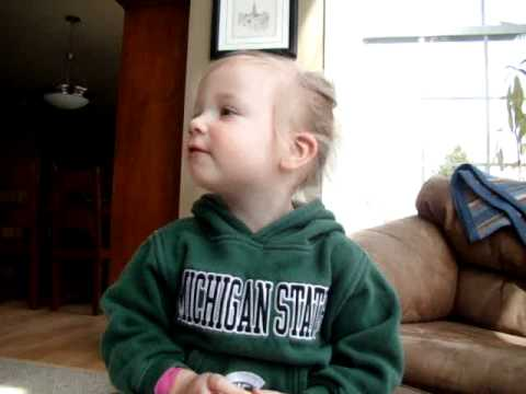 Tiny Spartan sings Michigan State Fight Song