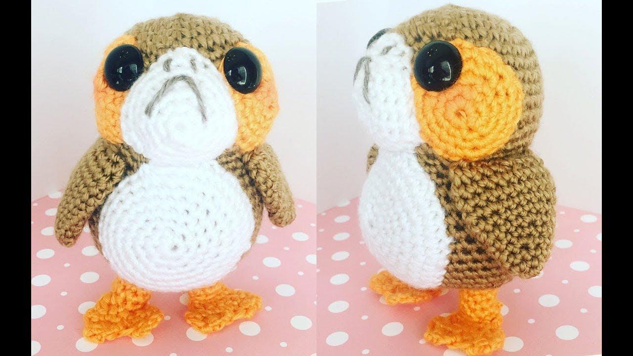 Amigurumi Bird Tutorial : Porg amigurumi crochet tutorial part youtube