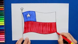 How to draw and color the National Flag of Chile