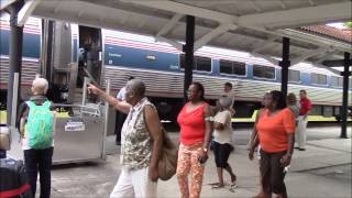 Amtrak 98 Silver Meteor Stops at Palatka, FL 8/4/14