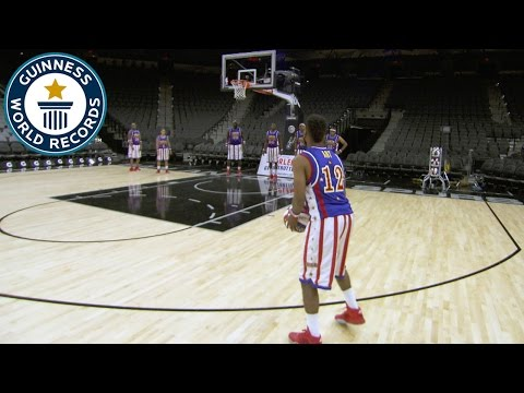 Most basketball three pointers in one minute (single ball) - Guinness World Records